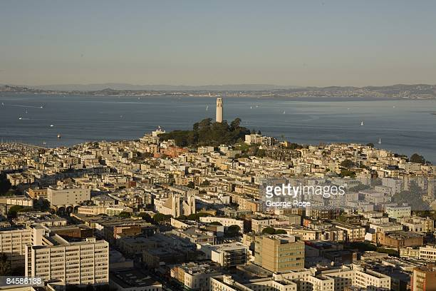 A late afternoon view of Coit Tower and North Beach is seen in this 2009 San Francisco California city landscape photo taken from Nob Hill
