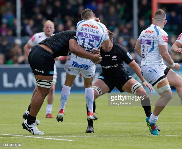 Late challenge from Will Skelton of Saracens on Phil Dollman of Exeter Chiefs during the Gallagher Premiership Rugby match between Saracens and...