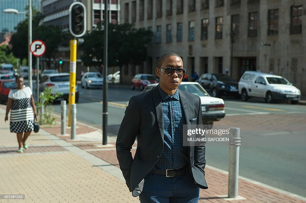 Late former South African president and global icon Nelson Mandela's grandson Mbuso Mandela arrives at the Johannesburg Magistrates court house on December 14, 2015 in Johannesburg, South Africa. Nelson Mandela's 24-year-old grandson appeared in court on August 17 on charges of raping a 15-year-old, in a new scandal to tarnish the family of the anti-apartheid icon. / AFP / MUJAHID