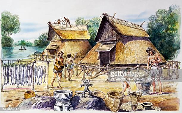 Late Jomon period village drawing Japan Jomon civilisation 2500300 BC