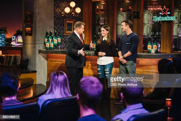 Late Late Show staffer Phoebe Feinberg plays a game of Late Late Live Tinder with James Corden during 'The Late Late Show with James Corden' Monday...