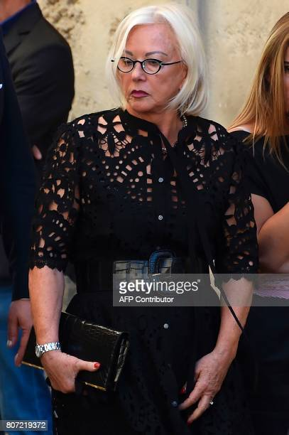 Late Montpellier's President Louis Nicollin's widow Colette Nicollin attends the funeral ceremony of Louis Nicollin on July 4 at the Cathedral of...