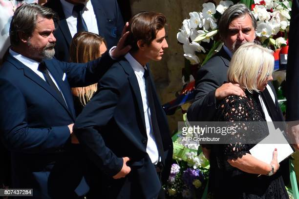 Late Montpellier's President Louis Nicollin's widow Colette Nicollin sons Laurent and Olivier and grandson attend the funeral ceremony of Louis...