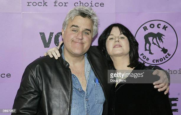 Late Night host Jay Leno with wife Mavis Leno before the launch concert for the 2004 Rock For Choice Year of Concerts on January 24 2004 at the...