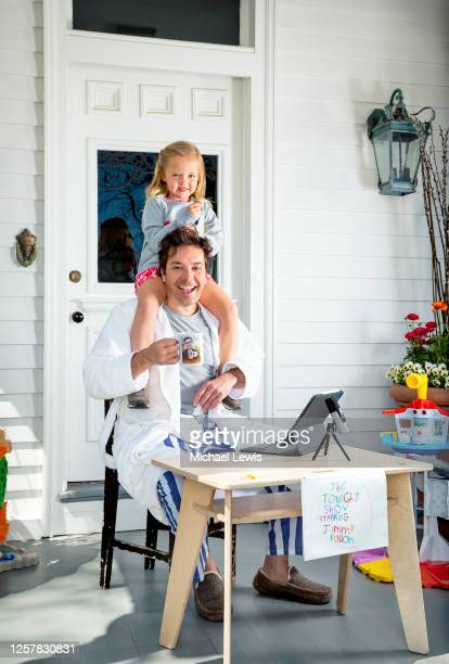 Late night host Jimmy Fallon is photographed with daughter Frances for People Magazine on April 25, 2020 at home in New York. COVER IMAGE.