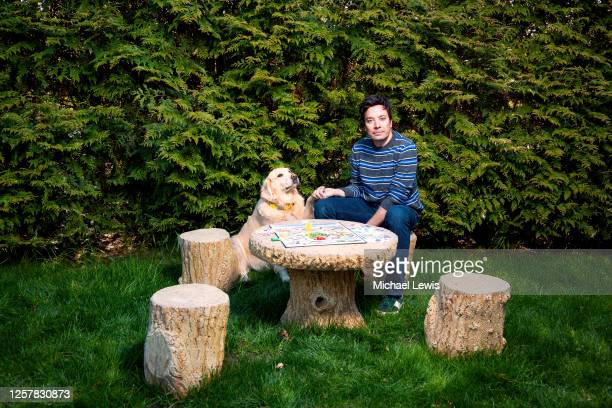 Late night host Jimmy Fallon is photographed with dog Gary for People Magazine on April 25, 2020 at home in New York.