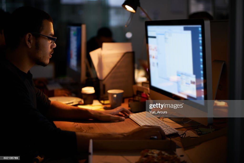 Late night programming... : Stock Photo