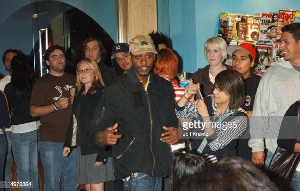 Late night shoppers at the Virgin Megastore in Hollywood enjoy a surprise visit from comedy superstar Dave Chappelle as he makes an unannounced visit...
