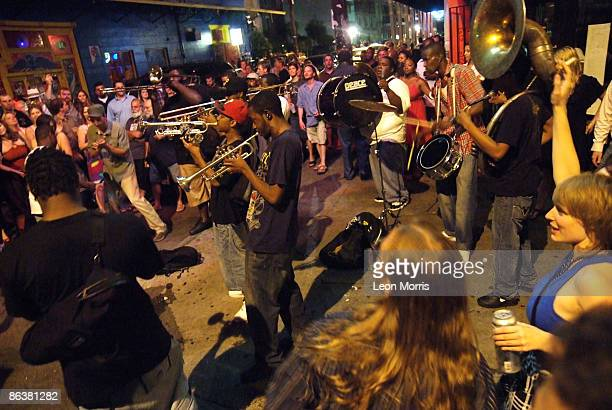 Late night street party on Frenchman Street at the New Orleans Jazz Heritage Festival on May 1 2009 in New Orleans