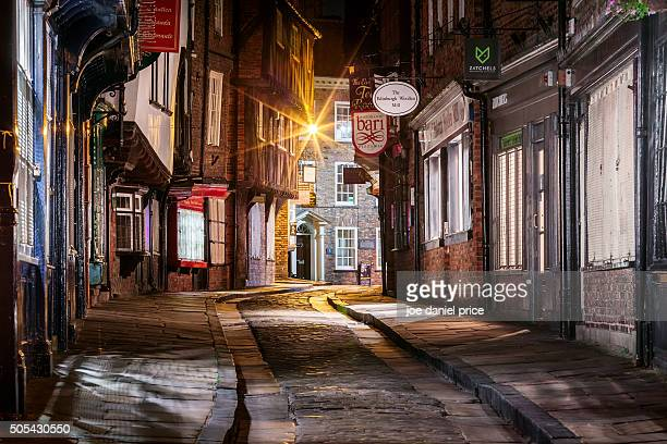late night, the shambles, york, yorkshire, england - york yorkshire stock pictures, royalty-free photos & images