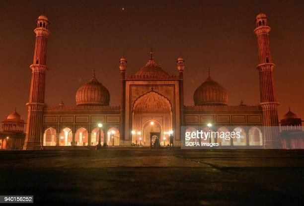 A late night view of Jama Masjid or Grand Mosque in Old Delhi India Jamia Masjid or Grand Mosque is Asia's largest mosque Jamia Masjid was built by...