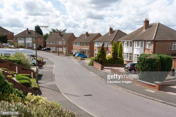 Late nineteen fifties houses on a street in Solihull a suburb of Birmingham Uk's second city