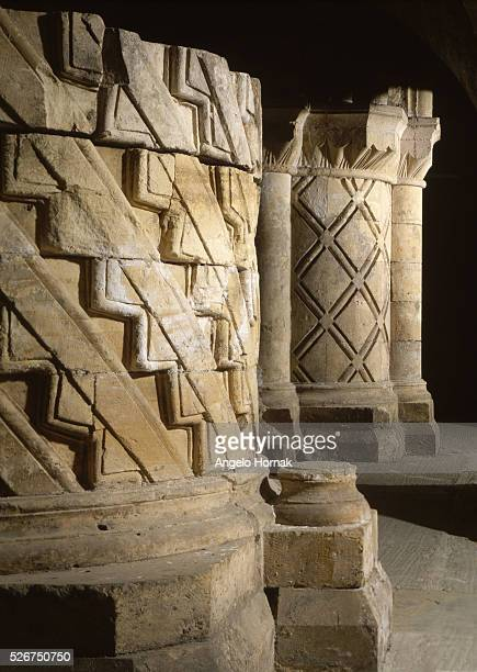 Late Norman piers from Archbishop Roger's undercroft at York Minster decorated with chevrons and lozenges