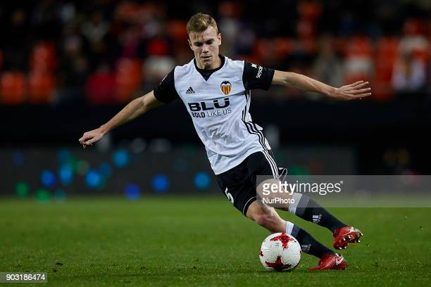 Late of Valencia CF with the ball during the Copa del Rey Round of 16 second leg game between Valencia CF and Las Palmas at Mestalla on January 9...
