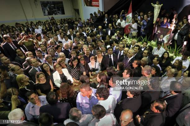 Late Peruvian former President Alan Garcia coffin is surrounded by supporters during his wake at the American Popular Revolutionary Alliance party...