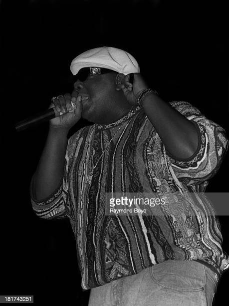 Late rapper Notorious BIG performs at the International Amphitheater in Chicago Illinois in APRIL 1995