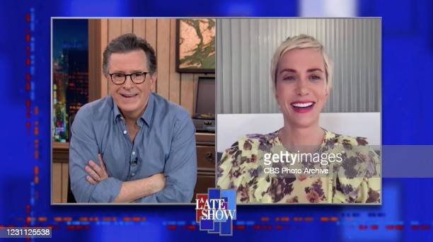 Late Show with Stephen Colbert and guest Kristen Wiig during Wednesday's February 10, 2021 Show. Image is a screen grab.