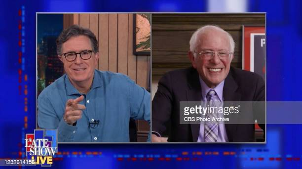 Late Show with Stephen Colbert and guest Senator Bernie Sanders during Wednesday's April 28, 2021 live show. Image is a screen grab.