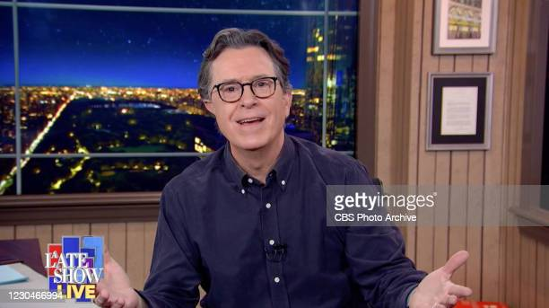 Late Show with Stephen Colbert during Wednesdays January 6, 2021 show. Image is a screen grab.