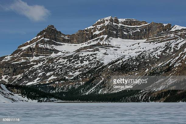 A late spring storm rolls into the Rockies along the Icefields Parkway between Lake Louise and Jasper on April 25 2016 near Jasper Alberta Canada...