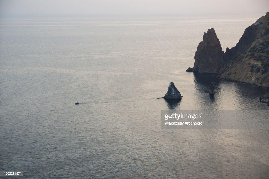 Late twilight at Cape Fiolent, Crimea : Stock Photo