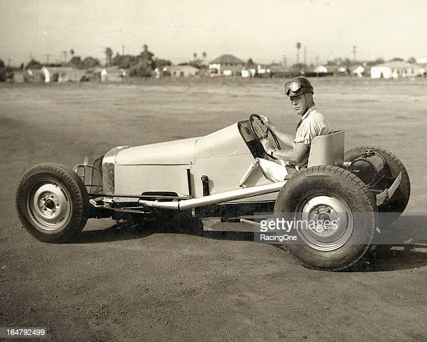 Bill Patrick with a late1940s Track Roadster that offered the driver very little protection including absence of a roll bar