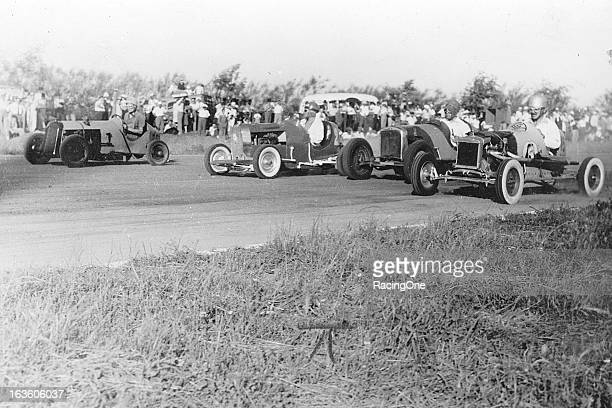 Mini Roadsters battle fourwide during a race in the late1940s at the San Justo racing facility