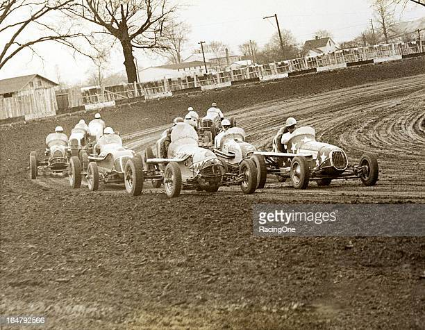 Sprint Cars in action during a late1940s race at Powell Motor Speedway The halfmile dirt track operated from 1946 through 1959