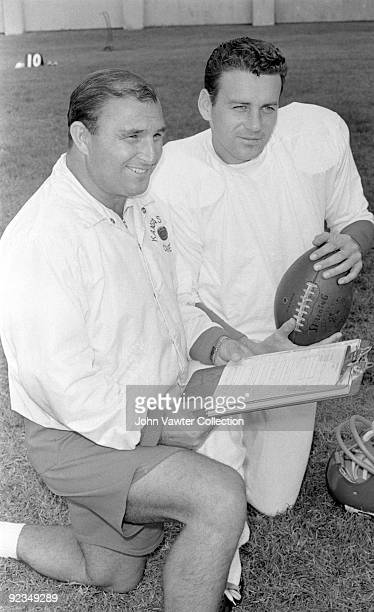 Head coach Hank Stram and quarterback Len Dawson of the Kansas City Chiefs pose for a portrait during training camp in the late1960s at William...