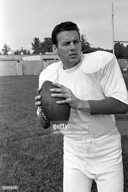 Quarterback Len Dawson of the Kansas City Chiefs poses for a portrait during training camp in the late1960s at William Jewell College in Liberty...