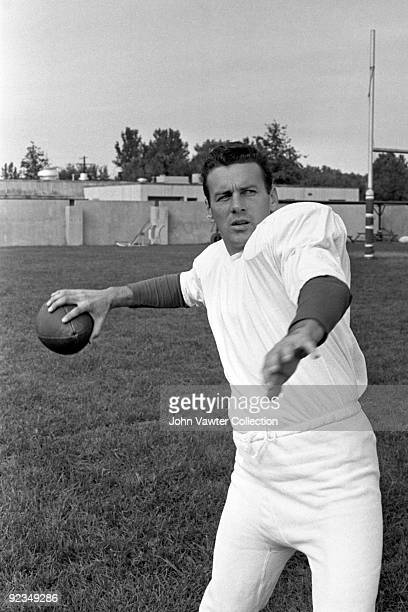 Quarterback Len Dawson of the Kansas City Chiefs poses for an action portrait during training camp in the late1960s at William Jewell College in...
