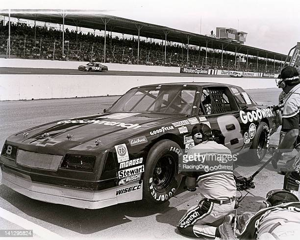 Dale Earnhardt makes a pit stop in his Dale Earnhardt INC Chevrolet Monte Carlo during a NASCAR Busch Grand National race at Darlington Raceway