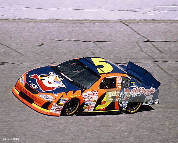 "Terry Labonte runs a special ""Tony the Tiger"" paint scheme on his Rick Hendrick Racing Kellogg's Chevrolet during a NASCAR Cup race at Daytona..."