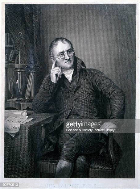 Later engraving by Worthington after the oil painting by Allen Dalton formulated an atomic theory to explain chemical reactions based on the concept...