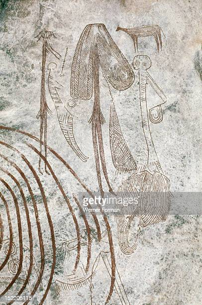 Later Stone Age rock painting interpreted by recent scholars as recording a shamanistic trance dance known as simbo among the hunter gatherer Sandawe...
