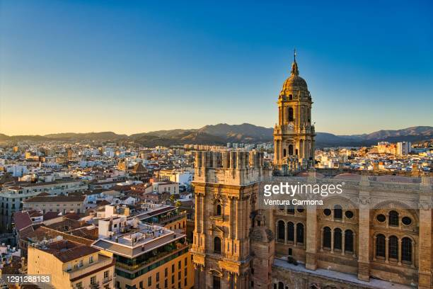 lateral view of málaga cathedral, spain - vista lateral stock pictures, royalty-free photos & images