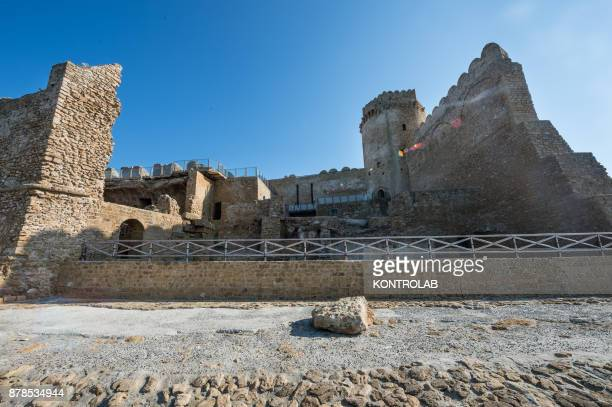 A lateral view of the Aragonese Castle of Le Castella in Calabria southern Italy An important tourist destination of Calabria visited every year by...