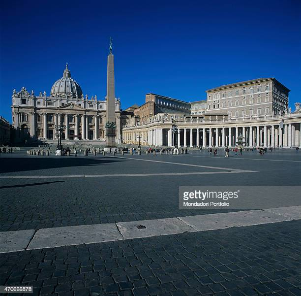 'Lateral view of the colonnade of St Peter's Square in the Vatican City State built by the architect Bernini and one of his most important...