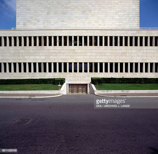 Lateral view of the Palace of Congress 19381954 designed by Adalberto Libera EUR district Rome Lazio Italy 20th century