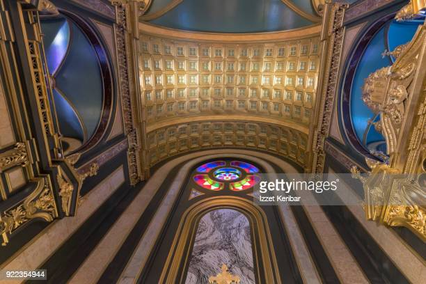 Lateral  wide angle view of  the interior of Sveti Stefan Bulgarian church at Istanbul Turkey