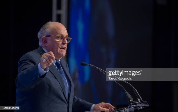 Latest appointee to President Donald Trump's legal team and former Mayor of New York City Rudy Giuliani speaks at the Conference on Iran on May 5...