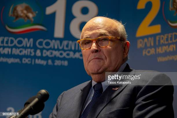 Latest appointee to President Donald Trump's legal team and former Mayor of New York City Rudy Giuliani takes questions from the media after speaking...