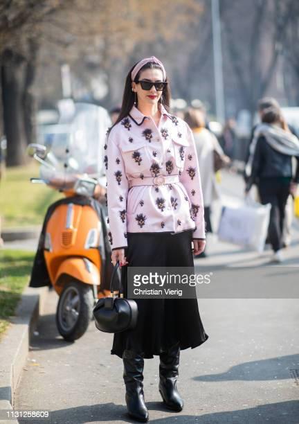 Latetita Nimah Kutob is seen outside Fendi on Day 2 Milan Fashion Week Autumn/Winter 2019/20 on February 21 2019 in Milan Italy