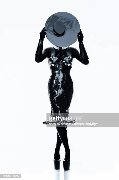 latex lady in black - 3 - bayern stock pictures, royalty-free photos & images