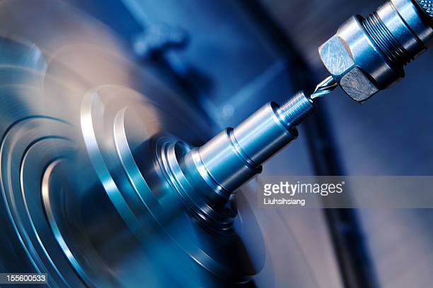 cnc lathe processing. - metal industry stock pictures, royalty-free photos & images