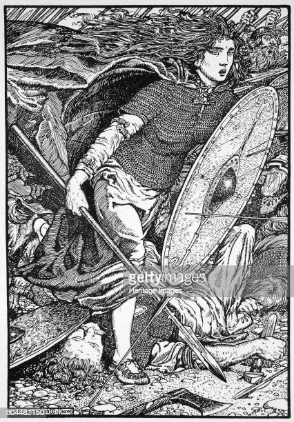 Lathgertha 1913 Lathgertha is a semilegendary Danish Viking shieldmaiden one time wife of Ragnar Lodbrok Illustration from The Northmen in Britain by...