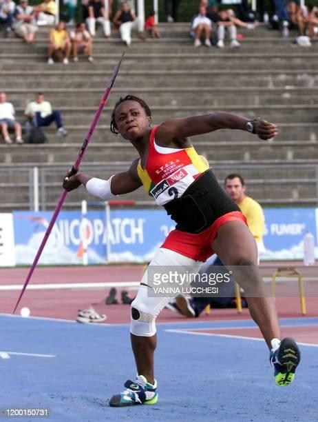 L'athlète Eunice Barber participe à l'épreuve finale de javelot femmes, le 04 août 2000 à Nice, lors des Championnats de France d'athlétisme qui se...