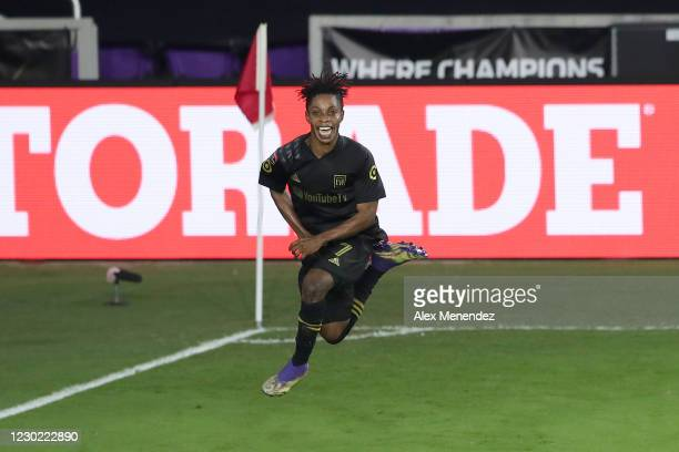 Latif Blessing of Los Angeles FC celebrates after scoring a goal during the CONCACAF Champions League semifinal game against Club America at Exploria...
