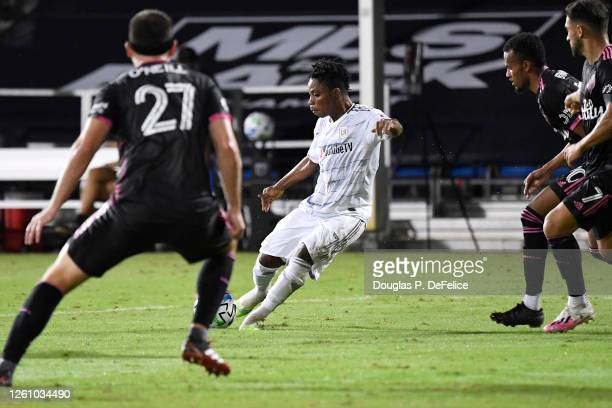 Latif Blessing of Los Angeles FC shoots to score his sides second goal during a round of 16 match of the MLS is Back Tournament between Seattle...