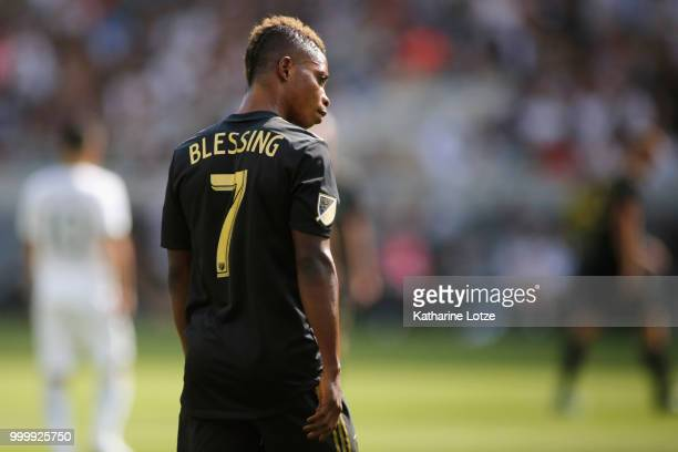 Latif Blessing of the Los Angeles Football Club looks down the field at Banc of California Stadium on July 15 2018 in Los Angeles California